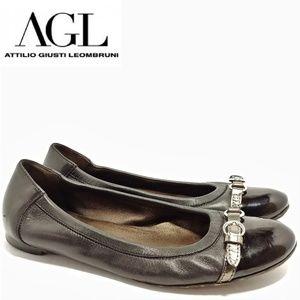 AGL Black Cap Toe Ballet Flats Sz 41 US 11